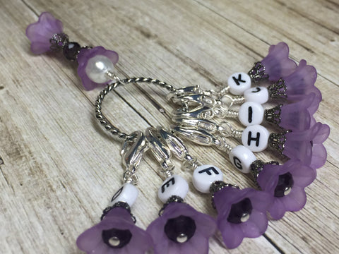 Crochet Letter Stitch Markers With Holder- Purple Flowers