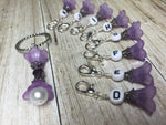 Crochet Letter Stitch Markers With Beaded Holder- Purple Flower Clip on Markers- Crochet Gift- Tools- Removable Stitch Marker Organizer ,  - Jill's Beaded Knit Bits, Jill's Beaded Knit Bits  - 4