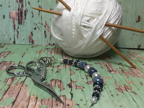 Stone Wash Blue Scissor Fob, Sewing Accessories, Beaded Scissor Jewelry, Zipper Pull, Needle Craft Gifts, Beaded Lanyard ,  - Jill's Beaded Knit Bits, Jill's Beaded Knit Bits  - 1