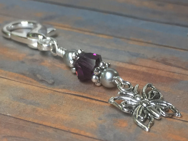 Butterfly Zipper Pull Charm, Beaded Key Chain, Purple Crochet Stitch Marker, Purse Jewelry, Handmade Gifts ,  - Jill's Beaded Knit Bits, Jill's Beaded Knit Bits  - 1