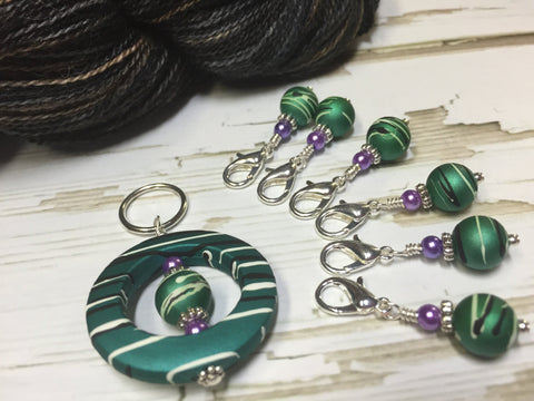 Crochet Stitch Marker Holder & Snag Free Beaded Stitch markers- Crochet Gift- Tools- Teal Stripes Stitch Marker Organizer ,  - Jill's Beaded Knit Bits, Jill's Beaded Knit Bits  - 2