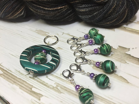 Crochet Stitch Marker Holder & Snag Free Beaded Stitch markers- Crochet Gift- Tools- Teal Stripes Stitch Marker Organizer ,  - Jill's Beaded Knit Bits, Jill's Beaded Knit Bits  - 3