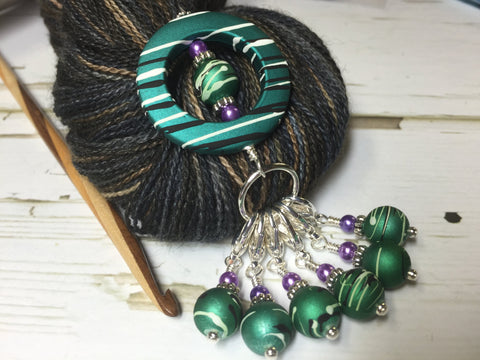 Removable Beaded Stitch Marker Set with Holder for Knitting or Crochet