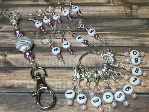 0 to 99 Numbered Row Counter System with Beaded Lanyard Holder- Numbered Piggyback Stitch Markers - Snag Free Row Counters- Knitting Gift ,  - Jill's Beaded Knit Bits, Jill's Beaded Knit Bits  - 3