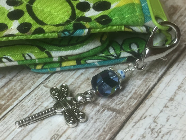 Dragonfly Zipper Pull, Key Chain Charm, Crochet Stitch Marker, Wallet or Purse Charm, Blue ,  - Jill's Beaded Knit Bits, Jill's Beaded Knit Bits  - 1