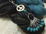 Peace Sign Stitch Marker Holder-  Removable Turquoise Stitch Markers- Gifts for Knitters- Clip On Crochet Stitch Marker ,  - Jill's Beaded Knit Bits, Jill's Beaded Knit Bits  - 3