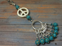 Peace Sign Stitch Marker Holder-  Removable Turquoise Stitch Markers- Gifts for Knitters- Clip On Crochet Stitch Marker ,  - Jill's Beaded Knit Bits, Jill's Beaded Knit Bits  - 1