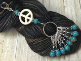 Peace Sign Stitch Marker Holder-  Removable Turquoise Stitch Markers- Gifts for Knitters- Clip On Crochet Stitch Marker ,  - Jill's Beaded Knit Bits, Jill's Beaded Knit Bits  - 2