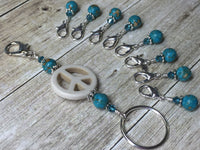 Peace Sign Stitch Marker Holder-  Removable Turquoise Stitch Markers- Gifts for Knitters- Clip On Crochet Stitch Marker ,  - Jill's Beaded Knit Bits, Jill's Beaded Knit Bits  - 4