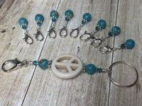 Peace Sign Stitch Marker Holder-  Removable Turquoise Stitch Markers- Gifts for Knitters- Clip On Crochet Stitch Marker ,  - Jill's Beaded Knit Bits, Jill's Beaded Knit Bits  - 5