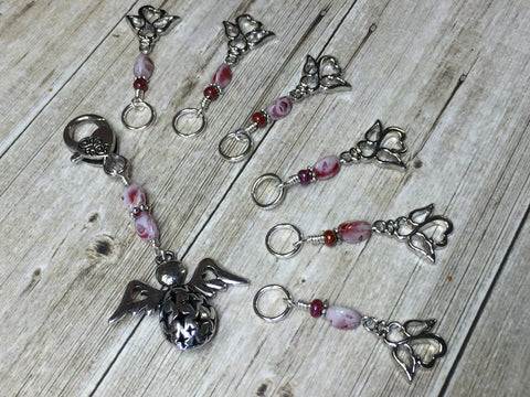 Angels Stitch Marker Set with Holder- Knitting Gift- Tools for Knitters , Stitch Markers - Jill's Beaded Knit Bits, Jill's Beaded Knit Bits  - 2