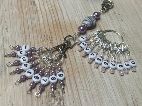 0 to 99 Numbered Stitch Marker System with Beaded Lanyard Holder-  Row Counter