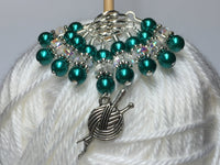Yarn Charm Beaded Stitch Marker Set- Snag Free Knitting Markers , Stitch Markers - Jill's Beaded Knit Bits, Jill's Beaded Knit Bits  - 1