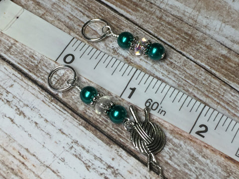 Yarn Charm Beaded Stitch Marker Set- Snag Free Knitting Markers , Stitch Markers - Jill's Beaded Knit Bits, Jill's Beaded Knit Bits  - 5