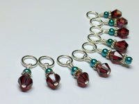 Knitting Stitch Markers- Snag Free Purple Crystal & Teal Pearl ,  - Jill's Beaded Knit Bits, Jill's Beaded Knit Bits  - 3