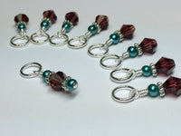 Knitting Stitch Markers- Snag Free Purple Crystal & Teal Pearl ,  - Jill's Beaded Knit Bits, Jill's Beaded Knit Bits  - 2