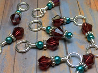 Knitting Stitch Markers- Snag Free Purple Crystal & Teal Pearl ,  - Jill's Beaded Knit Bits, Jill's Beaded Knit Bits  - 4