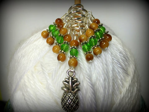 Pineapple Knitting Stitch Marker Set- Gift for Knitters ,  - Jill's Beaded Knit Bits, Jill's Beaded Knit Bits  - 4