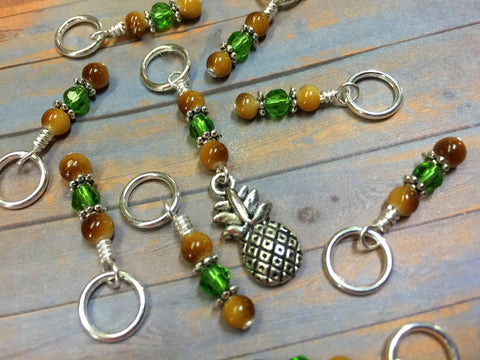 Pineapple Knitting Stitch Marker Set- Gift for Knitters ,  - Jill's Beaded Knit Bits, Jill's Beaded Knit Bits  - 3