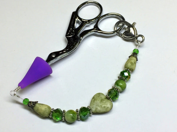 Green Heart Beaded Scissor Fob, Sewing Accessories, Scissor Charm, Zipper Pull, Needle Craft Gifts, Lanyard ,  - Jill's Beaded Knit Bits, Jill's Beaded Knit Bits  - 1