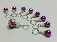 SNAG FREE Beaded Stitch Markers- Mauve Swirl Knitting Stitch Markers- Knitting Gift- Tools- Supplies- Mother's Day Gift ,  - Jill's Beaded Knit Bits, Jill's Beaded Knit Bits  - 3