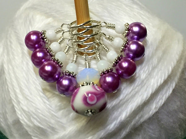 SNAG FREE Beaded Stitch Markers- Mauve Swirl Knitting Stitch Markers- Knitting Gift- Tools- Supplies- Mother's Day Gift ,  - Jill's Beaded Knit Bits, Jill's Beaded Knit Bits  - 2