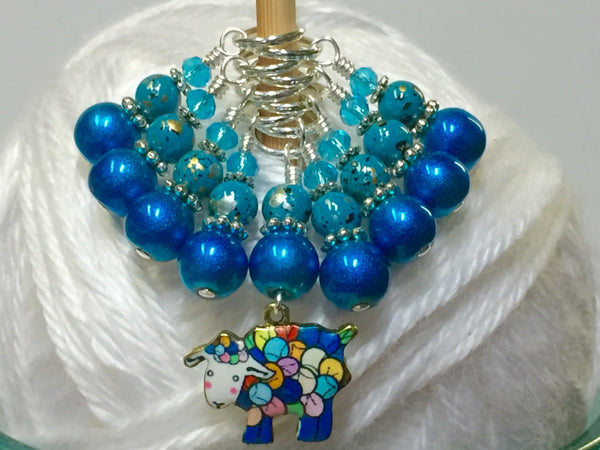 Yarn Sheep Knitting Stitch Marker Set- SNAG FREE Blue Stitch Marker Jewelry-  Beaded Tools-  Animal Gift for Knitters ,  - Jill's Beaded Knit Bits, Jill's Beaded Knit Bits  - 1