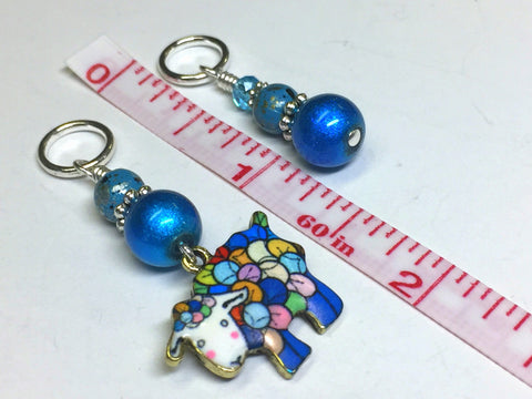 Yarn Sheep Knitting Stitch Marker Set- SNAG FREE Blue Stitch Marker Jewelry-  Beaded Tools-  Animal Gift for Knitters ,  - Jill's Beaded Knit Bits, Jill's Beaded Knit Bits  - 5