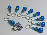 Yarn Sheep Knitting Stitch Marker Set- SNAG FREE Blue Stitch Marker Jewelry-  Beaded Tools-  Animal Gift for Knitters ,  - Jill's Beaded Knit Bits, Jill's Beaded Knit Bits  - 2