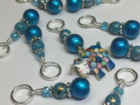 Yarn Sheep Knitting Stitch Marker Set- SNAG FREE Blue Stitch Marker Jewelry-  Beaded Tools-  Animal Gift for Knitters ,  - Jill's Beaded Knit Bits, Jill's Beaded Knit Bits  - 3