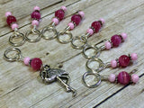 Knitting Stitch Markers-  Pink Flamingo Snag Free Beaded stitch marker - Bird - Gift for Knitters - Tools ,  - Jill's Beaded Knit Bits, Jill's Beaded Knit Bits  - 2