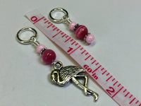 Knitting Stitch Markers-  Pink Flamingo Snag Free Beaded stitch marker - Bird - Gift for Knitters - Tools ,  - Jill's Beaded Knit Bits, Jill's Beaded Knit Bits  - 3