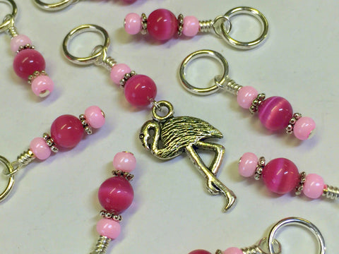 Knitting Stitch Markers-  Pink Flamingo Snag Free Beaded stitch marker - Bird - Gift for Knitters - Tools ,  - Jill's Beaded Knit Bits, Jill's Beaded Knit Bits  - 4