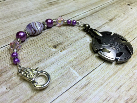 Purple Yarn Cutter Fob- Beaded Clover Yarn Cutter Lanyard- Yarn Cutter Jewelry- Gift for Mom ,  - Jill's Beaded Knit Bits, Jill's Beaded Knit Bits  - 1