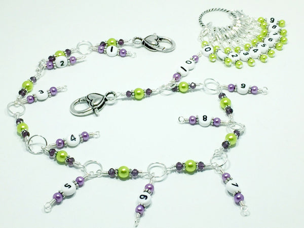 1-100 Chain Row Counter System- Purple & Green Number Stitch Markers- Gift for Knitters- Knitting Tools- Supplies ,  - Jill's Beaded Knit Bits, Jill's Beaded Knit Bits  - 5
