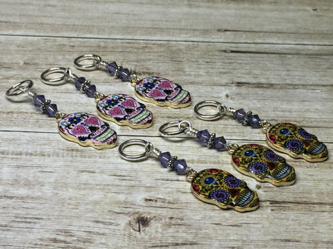 6 Sugar Skull Stitch Markers- Snag Free Beaded Knitting Markers- Gifts for Knitters- Tools- Supplies- Crochet Markers ,  - Jill's Beaded Knit Bits, Jill's Beaded Knit Bits  - 3