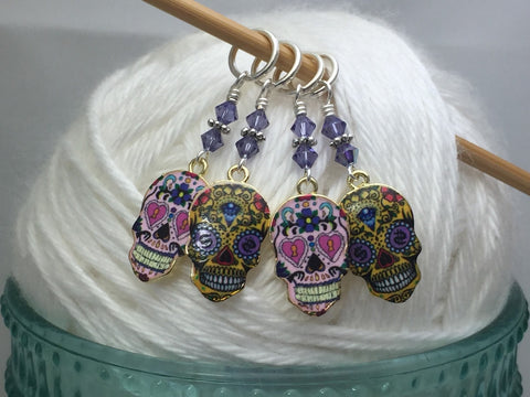 6 Sugar Skull Stitch Markers- Snag Free Beaded Knitting Markers- Gifts for Knitters- Tools- Supplies- Crochet Markers ,  - Jill's Beaded Knit Bits, Jill's Beaded Knit Bits  - 2