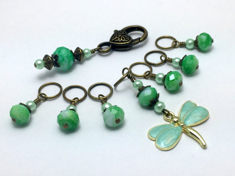 Mint Green Dragonfly Stitch Markers with Holder - Beaded Snag Free Knitting marker Set - Gift for Knitters- Tools - Knitting Bag organizer ,  - Jill's Beaded Knit Bits, Jill's Beaded Knit Bits  - 4