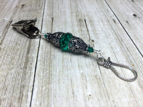 Vintage Emerald Green Portuguese Knitting Pin - ID Badge Holder