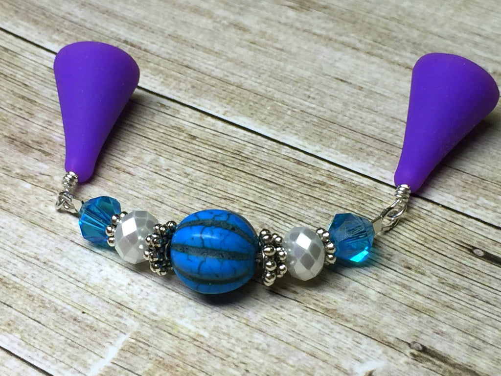 Beaded Stitch Saver- Blue Point Protector Jewelry for Knitting Needles- Gift for Knitters- Knitting Accessories ,  - Jill's Beaded Knit Bits, Jill's Beaded Knit Bits  - 1