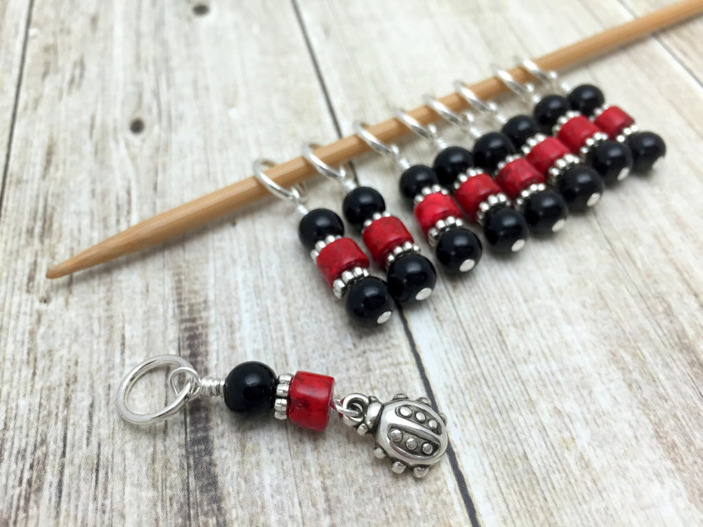 Ladybug Snag Free Stitch Markers- Birthday Gifts for Knitters - Crochet Markers - Beaded Knitting Markers - Tools ,  - Jill's Beaded Knit Bits, Jill's Beaded Knit Bits  - 1