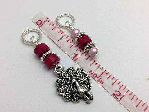 Peacock Stitch Marker Charm Set, Gifts for Knitters, Snag Free Beaded Bird Knitting Markers, Knitting Accessories ,  - Jill's Beaded Knit Bits, Jill's Beaded Knit Bits  - 5