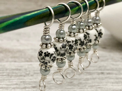 Double Duty Floral Stitch Markers- Gift for Knitters - Two Sizes in One Marker