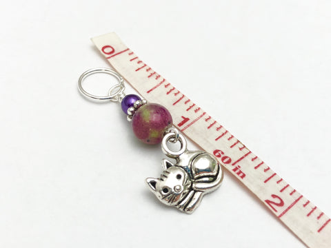 Cat Stitch Markers for Knitting with Optional Holder Clip