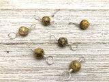 Double Duty Leopard Jasper Stitch Markers - Gift for Knitters - Two Sizes in One Marker