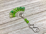 Cat Stitch Marker Holder Set with Fire Crackle Agate Beads