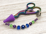 Jewel Tone Beaded Scissor Fob for Embroidery Scissors