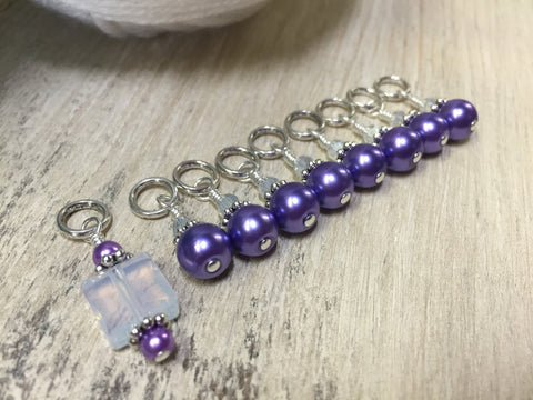 Snag Free Opal-Violet Stitch Marker Set for Knitting , Stitch Markers - Jill's Beaded Knit Bits, Jill's Beaded Knit Bits  - 3