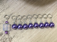 Snag Free Opal-Violet Stitch Marker Set for Knitting , Stitch Markers - Jill's Beaded Knit Bits, Jill's Beaded Knit Bits  - 4