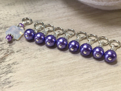 Snag Free Opal-Violet Stitch Marker Set for Knitting , Stitch Markers - Jill's Beaded Knit Bits, Jill's Beaded Knit Bits  - 5
